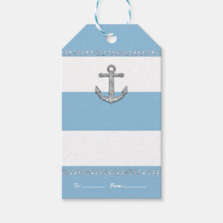 Cornflower Blue & White Stripes Diamond Anchor Gift Tags