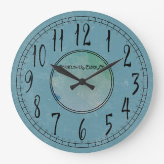 Cornflower Blue with Weathering Large Clock