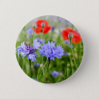 cornflowers and poppies 6 cm round badge