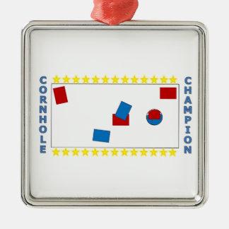 Cornhole Champion Silver-Colored Square Decoration