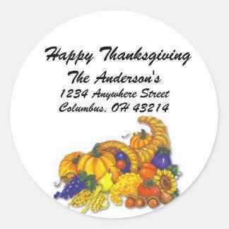 Cornicopia - Happy Thanksgiving Address Labels Round Sticker