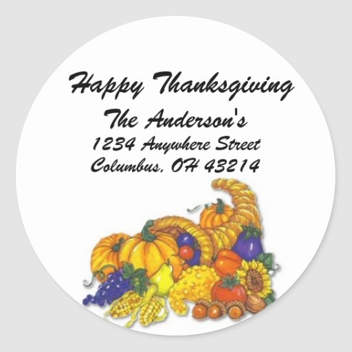 Cornicopia - Happy Thanksgiving Address Labels Stickers