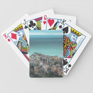 Corniglia on the cliffs, Cinque Terre Italy Poker Deck