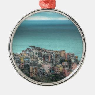 Corniglia on the cliffs, Cinque Terre Italy Silver-Colored Round Decoration