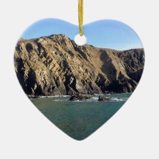 Cornish Cliffs Ceramic Heart Decoration