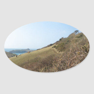 Cornish coast oval sticker