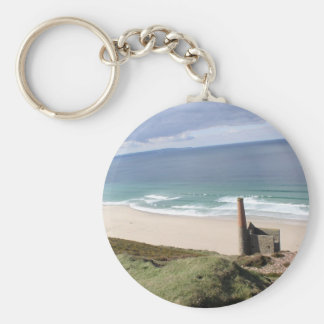 Cornish mining ruine in wheal mill 02 basic round button key ring