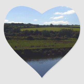Cornish River and Countryside Heart Sticker