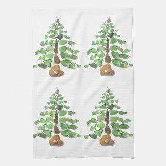 Cornish Seaglass Christmas Tree Tea Towels
