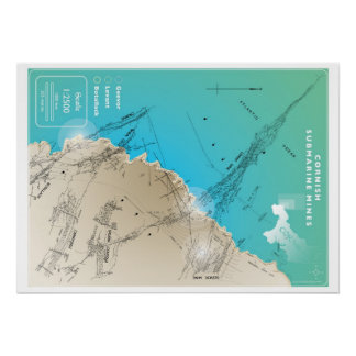 Cornish Submarine Mining Map Poster
