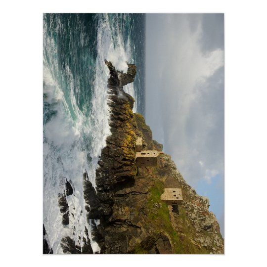 Cornish Tin Mines by the sea Poster