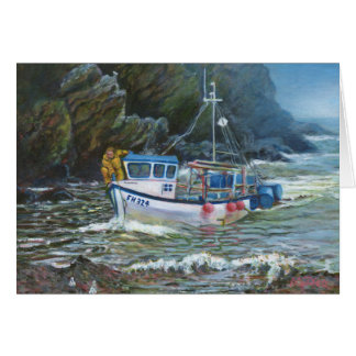 Cornish traditional fishing boat painting card