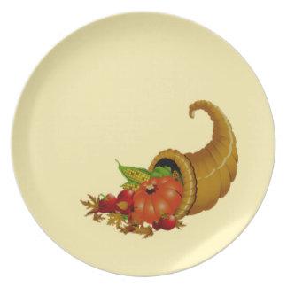 Cornucopia / Horn of Plenty Cream Party Plate