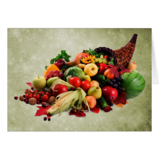Cornucopia Horn of Plenty Happy Thanksgiving Note Card