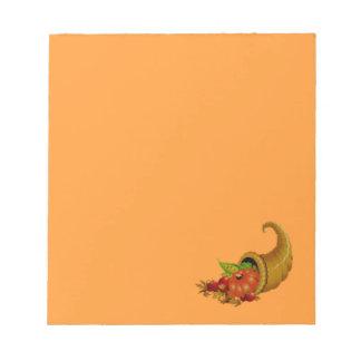 Cornucopia / Horn of Plenty Orange Memo Pads