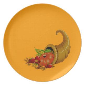 Cornucopia / Horn of Plenty Orange Party Plates