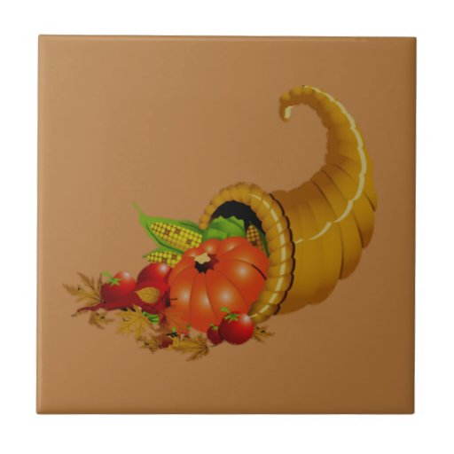 Cornucopia / Horn of Plenty Ceramic Tile