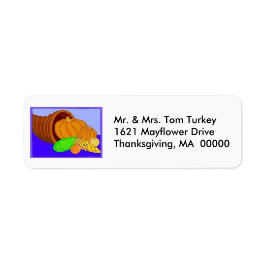 Cornucopia Thanksgiving Return Address Sticker Return Address Label