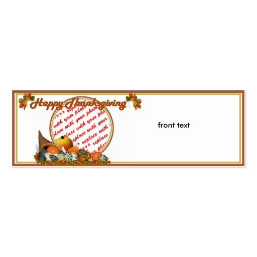 Cornucopia with Fall Gourds Photo Frame Business Cards