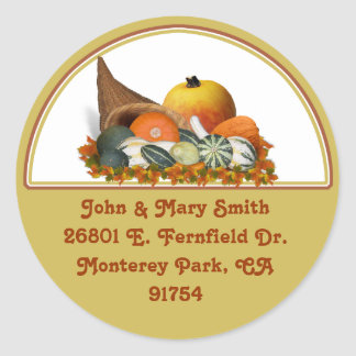 Cornucopia with Fall Gourds Round Sticker