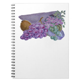 Cornucopia With Fruit And Flowers - Horn Of Plenty Notebooks