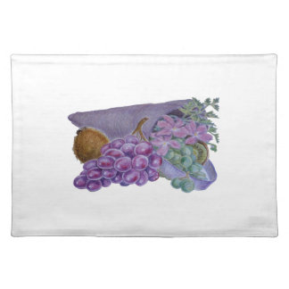 Cornucopia With Fruit And Flowers - Horn Of Plenty Place Mats