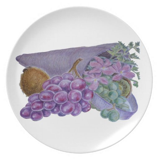 Cornucopia With Fruit And Flowers - Horn Of Plenty Party Plate
