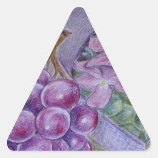 Cornucopia With Fruit And Flowers - Horn Of Plenty Triangle Sticker