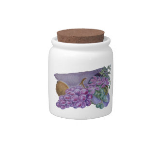 Cornucopia With Fruit And Flowers - Horn Of Plenty Candy Jar