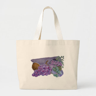 Cornucopia With Fruit And Flowers - Horn Of Plenty Jumbo Tote Bag