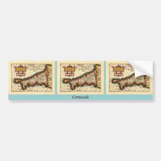 """Cornwaile"" Cornwall County Map, England Bumper Sticker"