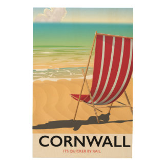 Cornwall beach classic travel poster