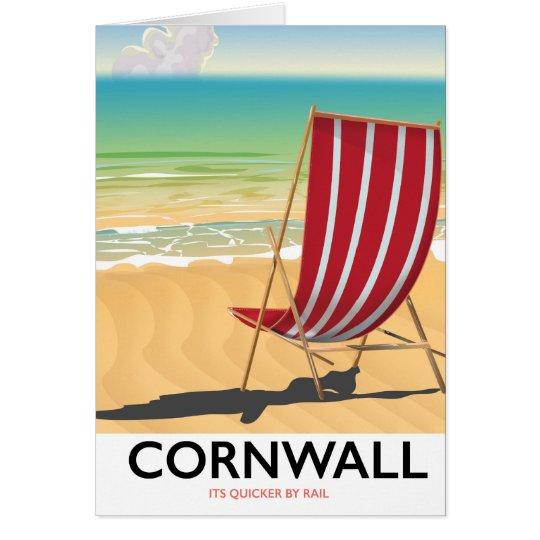 Cornwall beach classic travel poster card