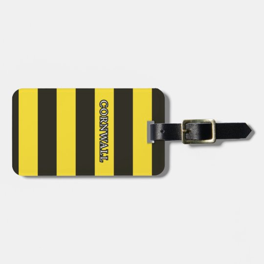 Cornwall Black and Gold Hoops Luggage Tag