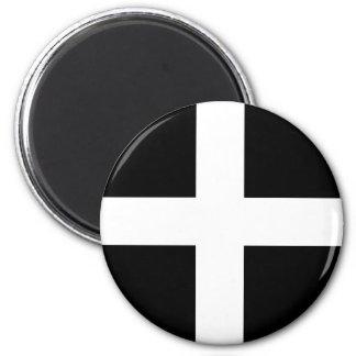 Cornwall - Cornish Flag / St. Piran's 6 Cm Round Magnet
