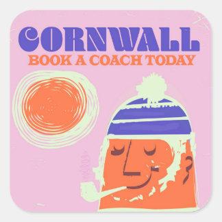 """Cornwall fisherman vintage """"take a coach"""" poster square sticker"""