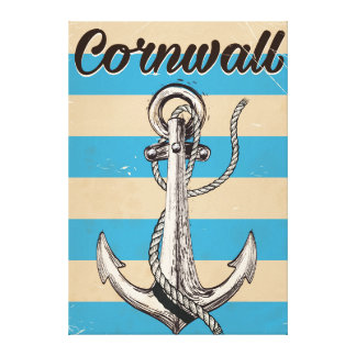 Cornwall Fishing Anchor travel poster Canvas Print