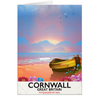 Cornwall fishing boat vintage travel poster card