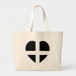 Cornwall Flag Heart Canvas Bags
