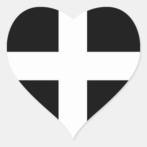 Cornwall Flag Heart Sticker