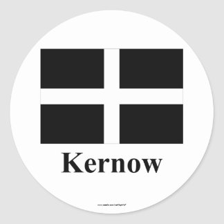 Cornwall Flag with Name in Cornish Classic Round Sticker