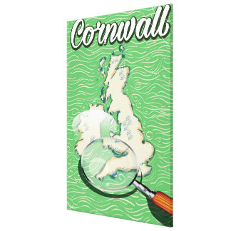 cornwall map vintage travel poster canvas print