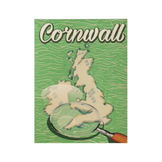 cornwall map vintage travel poster wood poster