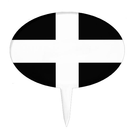 Cornwall (St Piran's Flag) Oval Cake Toppers