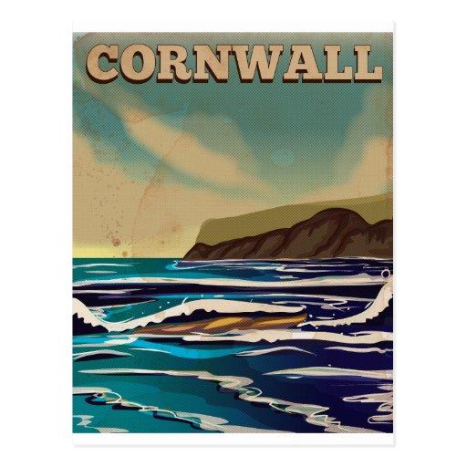 Cornwall Vintage Travel Poster Postcard