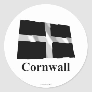 Cornwall Waving Flag with Name Classic Round Sticker