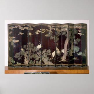 Coromandel screen depicting cranes poster