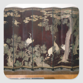 Coromandel screen depicting cranes square sticker