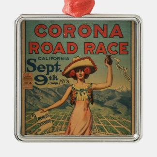 Corona Road Race - 1913 Silver-Colored Square Decoration