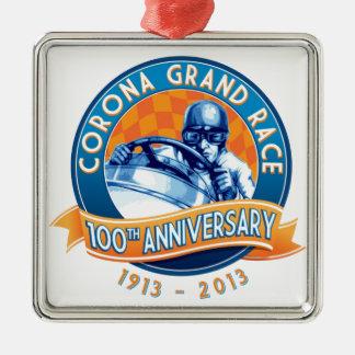 Corona Road Races 100th Anniversary Silver-Colored Square Decoration